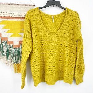 Free People Oversized Chunky Knit Yellow Sweater L